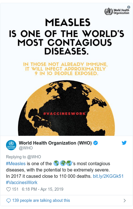 Twitter post by @WHO: #Measles is one of the 🌎🌍🌏's most contagious diseases, with the potential to be extremely severe. In 2017 it caused close to 110 000 deaths.  #VaccinesWork