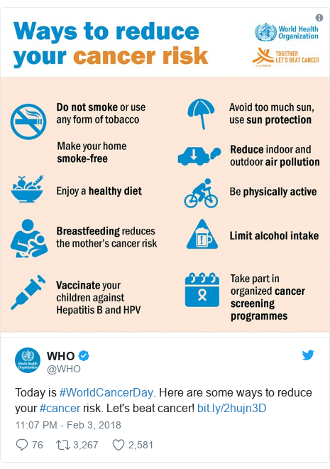 Twitter post by @WHO: Today is #WorldCancerDay. Here are some ways to reduce your #cancer risk. Let's beat cancer!