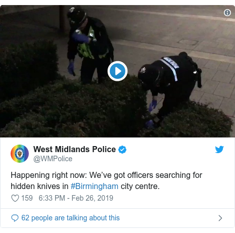 Twitter post by @WMPolice: Happening right now  We've got officers searching for hidden knives in #Birmingham city centre.