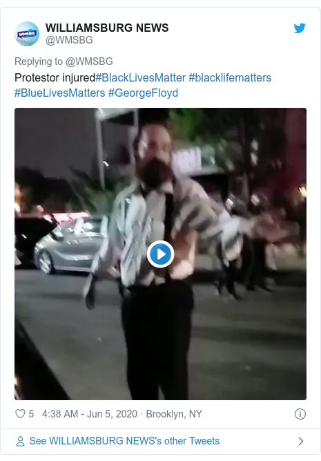 Twitter post by @WMSBG: Protestor injured#BlackLivesMatter #blacklifematters #BlueLivesMatters #GeorgeFloyd