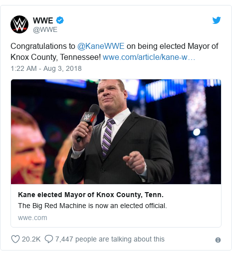 Twitter post by @WWE: Congratulations to @KaneWWE on being elected Mayor of Knox County, Tennessee!