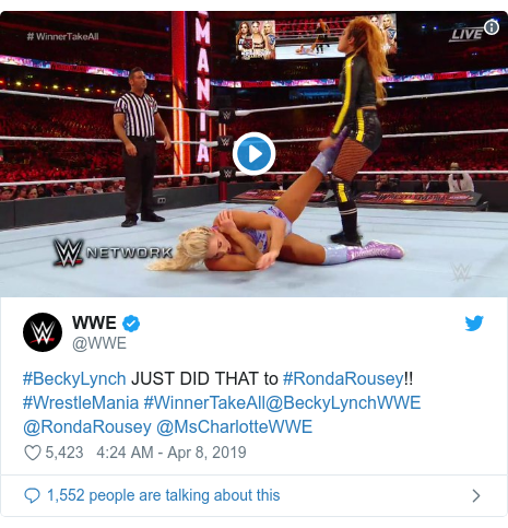 Twitter post by @WWE: #BeckyLynch JUST DID THAT to #RondaRousey!! #WrestleMania #WinnerTakeAll@BeckyLynchWWE @RondaRousey @MsCharlotteWWE