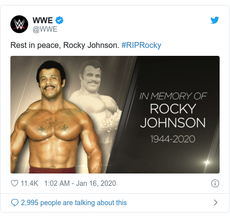 Twitter post by @WWE: Rest in peace, Rocky Johnson. #RIPRocky