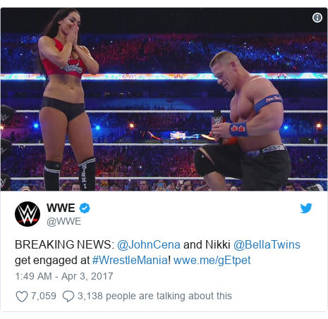 Twitter post by @WWE: BREAKING NEWS  @JohnCena and Nikki @BellaTwins get engaged at #WrestleMania!
