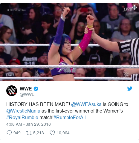 Twitter post by @WWE: HISTORY HAS BEEN MADE! @WWEAsuka is GOING to @WrestleMania as the first-ever winner of the Women's #RoyalRumble match!#RumbleForAll