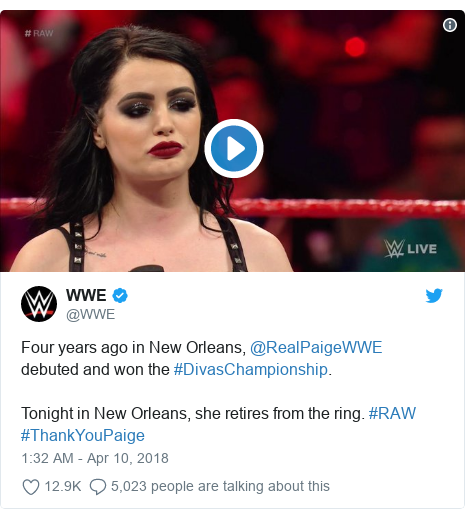Twitter post by @WWE: Four years ago in New Orleans, @RealPaigeWWE debuted and won the #DivasChampionship.Tonight in New Orleans, she retires from the ring. #RAW #ThankYouPaige
