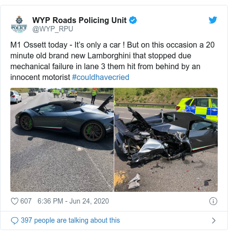 Twitter post by @WYP_RPU: M1 Ossett today - It's only a car ! But on this occasion a 20 minute old brand new Lamborghini that stopped due  mechanical failure in lane 3 them hit from behind by an innocent motorist #couldhavecried