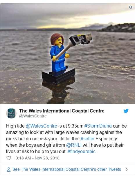 Twitter post by @WalesCentre: High tide @WalesCentre is at 9.33am #StormDiana can be amazing to look at with large waves crashing against the rocks but do not risk your life for that #selfie Especially when the boys and girls from @RNLI will have to put their lives at risk to help to you out. #findyourepic