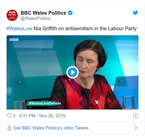 Twitter post by @WalesPolitics: #WalesLive Nia Griffith on antisemitism in the Labour Party