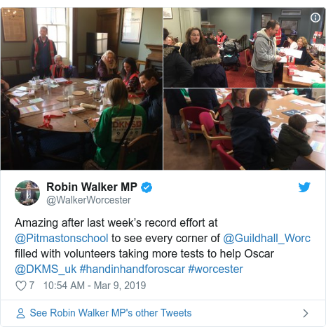 Twitter post by @WalkerWorcester: Amazing after last week's record effort at @Pitmastonschool to see every corner of @Guildhall_Worc filled with volunteers taking more tests to help Oscar @DKMS_uk #handinhandforoscar #worcester