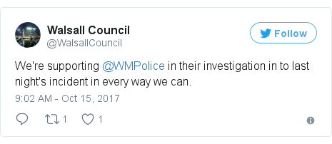 Twitter post by @WalsallCouncil: We're supporting @WMPolice in their investigation in to last night's incident in every way we can.