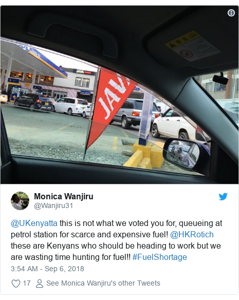 Ujumbe wa Twitter wa @Wanjiru31: @UKenyatta this is not what we voted you for, queueing at petrol station for scarce and expensive fuel! @HKRotich these are Kenyans who should be heading to work but we are wasting time hunting for fuel!! #FuelShortage
