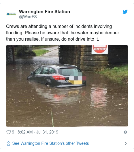 Twitter post by @WarrFS: Crews are attending a number of incidents involving flooding. Please be aware that the water maybe deeper than you realise, if unsure, do not drive into it.