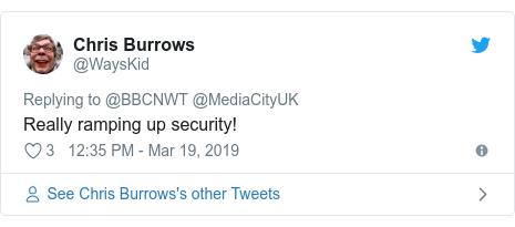 Twitter post by @WaysKid: Really ramping up security!