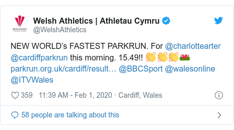 Twitter post by @WelshAthletics: NEW WORLD's FASTEST PARKRUN. For @charlottearter @cardiffparkrun this morning. 15.49!! 👏👏👏🏴  @BBCSport @walesonline @ITVWales