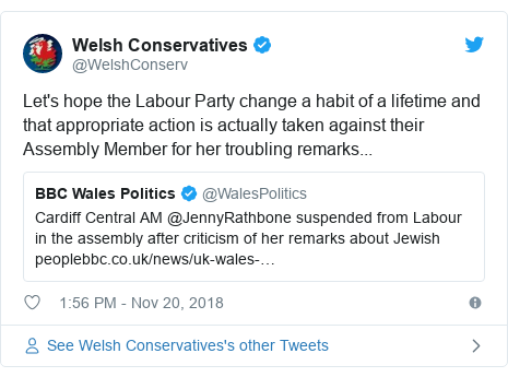 Twitter post by @WelshConserv: Let's hope the Labour Party change a habit of a lifetime and that appropriate action is actually taken against their Assembly Member for her troubling remarks...