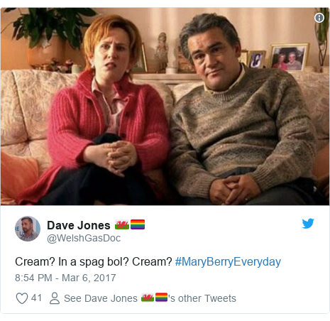 Twitter post by @WelshGasDoc: Cream? In a spag bol? Cream? #MaryBerryEveryday