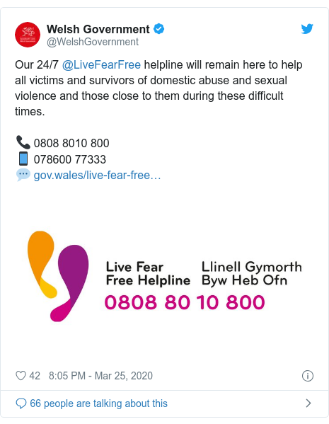 Twitter post by @WelshGovernment: Our 24/7 @LiveFearFree helpline will remain here to help all victims and survivors of domestic abuse and sexual violence and those close to them during these difficult times.📞 0808 8010 800📱 078600 77333💬