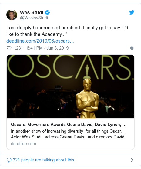 """Twitter post by @WesleyStudi: I am deeply honored and humbled. I finally get to say """"I'd like to thank the Academy..."""""""