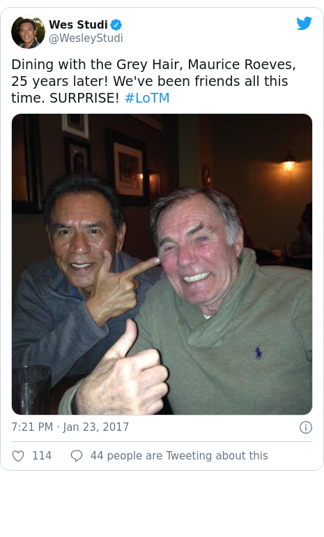 Twitter post by @WesleyStudi: Dining with the Grey Hair, Maurice Roeves, 25 years later! We've been friends all this time. SURPRISE! #LoTM
