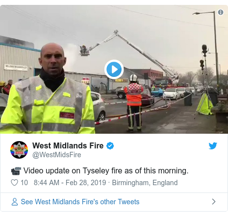 Twitter post by @WestMidsFire: 📹 Video update on Tyseley fire as of this morning.