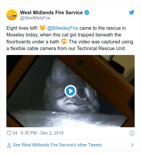Twitter post by @WestMidsFire: Eight lives left! 🐱 @BillesleyFire came to the rescue in Moseley today, when this cat got trapped beneath the floorboards under a bath 🙄 The video was captured using a flexible cable camera from our Technical Rescue Unit.