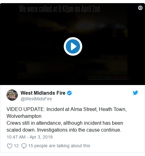 Twitter post by @WestMidsFire: VIDEO UPDATE  Incident at Alma Street, Heath Town, WolverhamptonCrews still in attendance, although incident has been scaled down. Investigations into the cause continue.