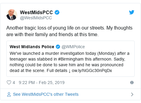 Twitter post by @WestMidsPCC: Another tragic loss of young life on our streets. My thoughts are with their family and friends at this time.