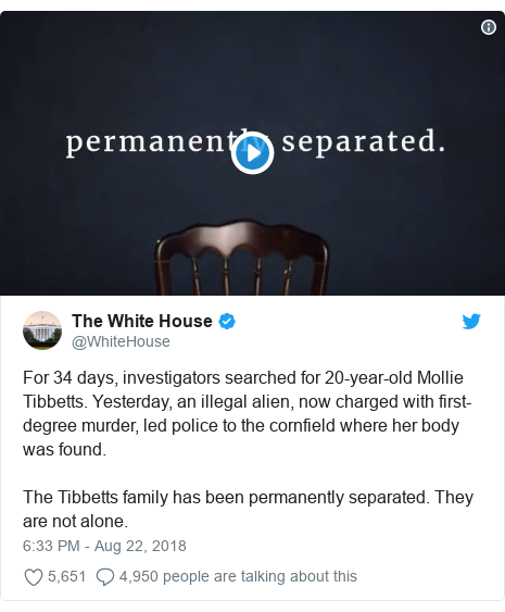 Twitter post by @WhiteHouse: For 34 days, investigators searched for 20-year-old Mollie Tibbetts. Yesterday, an illegal alien, now charged with first-degree murder, led police to the cornfield where her body was found.  The Tibbetts family has been permanently separated. They are not alone.