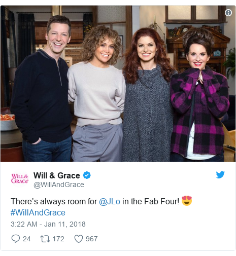 Twitter post by @WillAndGrace: There's always room for @JLo in the Fab Four! 😍 #WillAndGrace