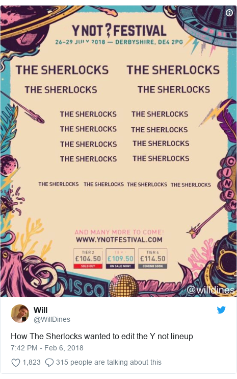 Twitter post by @WillDines: How The Sherlocks wanted to edit the Y not lineup