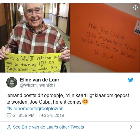 Twitter post by @WillemijnvanRh1: Iemand postte dit oproepje, mijn kaart ligt klaar om gepost te worden! Joe Cuba, here it comes😊#Kleinemoeitegrootplezier