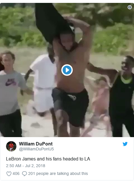 Twitter post by @WilliamDuPontJ5: LeBron James and his fans headed to LA