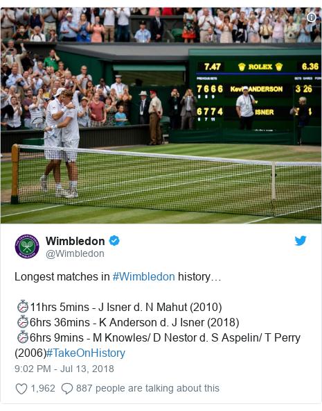 Twitter post by @Wimbledon: Longest matches in #Wimbledon history…⏱11hrs 5mins - J Isner d. N Mahut (2010)⏱6hrs 36mins - K Anderson d. J Isner (2018)⏱6hrs 9mins - M Knowles/ D Nestor d. S Aspelin/ T Perry (2006)#TakeOnHistory