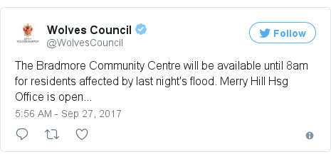 Twitter post by @WolvesCouncil: The Bradmore Community Centre will be available until 8am for residents affected by last night's flood. Merry Hill Hsg Office is open...