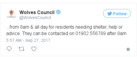 Twitter post by @WolvesCouncil: ...from 8am & all day for residents needing shelter, help or advice. They can be contacted on 01902 556789 after 8am