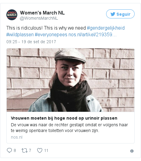 Twitter post de @WomensMarchNL: This is ridiculous! This is why we need #gendergelijkheid #wildplassen #everyonepees https //t.co/3j2RRGwvnk