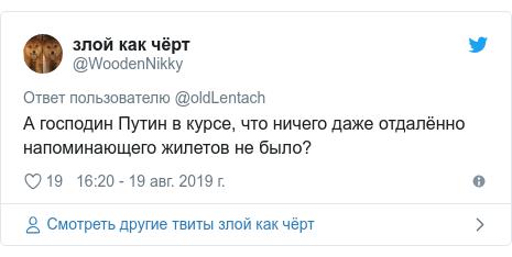 Twitter пост, автор: @WoodenNikky: А господин Путин в курсе, что ничего даже отдалённо напоминающего жилетов не было?