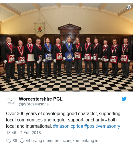Twitter pesan oleh @WorcsMasons: Over 300 years of developing good character, supporting local communities and regular support for charity - both local and international. #masonicpride #positivemasonry