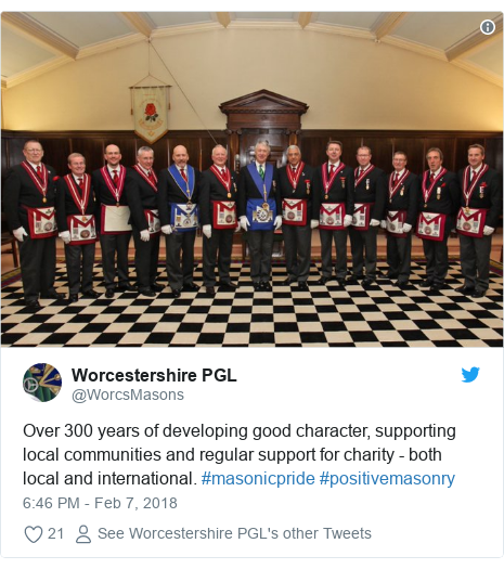 Twitter post by @WorcsMasons: Over 300 years of developing good character, supporting local communities and regular support for charity - both local and international. #masonicpride #positivemasonry
