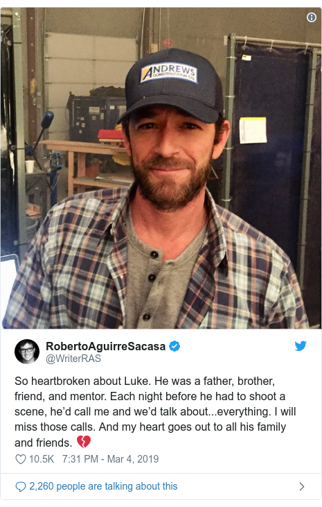 Twitter post by @WriterRAS: So heartbroken about Luke. He was a father, brother, friend, and mentor. Each night before he had to shoot a scene, he'd call me and we'd talk about...everything. I will miss those calls. And my heart goes out to all his family and friends. 💔
