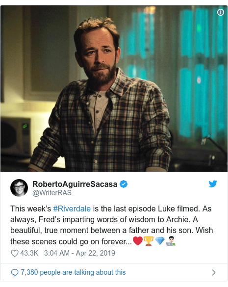 Twitter post by @WriterRAS: This week's #Riverdale is the last episode Luke filmed. As always, Fred's imparting words of wisdom to Archie. A beautiful, true moment between a father and his son. Wish these scenes could go on forever...❤️🏆💎👨🏻💻