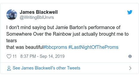 Twitter post by @WritingBblUnvrs: I don't mind saying but Jamie Barton's performance of Somewhere Over the Rainbow just actually brought me to tearsthat was beautiful#bbcproms #LastNightOfTheProms