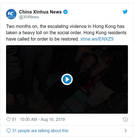 Twitter post by @XHNews: Two months on, the escalating violence in Hong Kong has taken a heavy toll on the social order. Hong Kong residents have called for order to be restored.