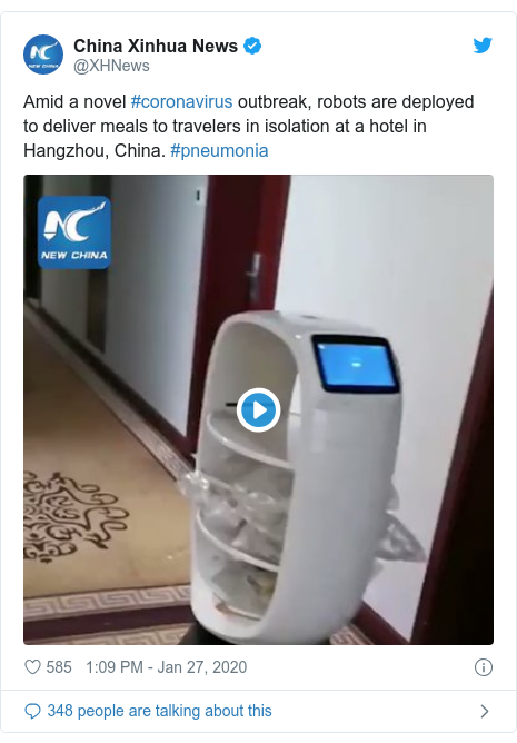 Twitter post by @XHNews: Amid a novel #coronavirus outbreak, robots are deployed to deliver meals to travelers in isolation at a hotel in Hangzhou, China. #pneumonia