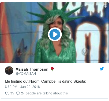 Twitter post by @YOMAISAH: Me finding out Naomi Campbell is dating Skepta