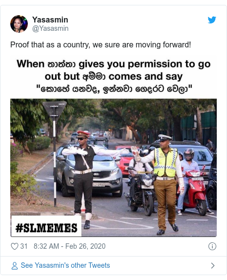 Twitter හි @Yasasmin කළ පළකිරීම: Proof that as a country, we sure are moving forward!