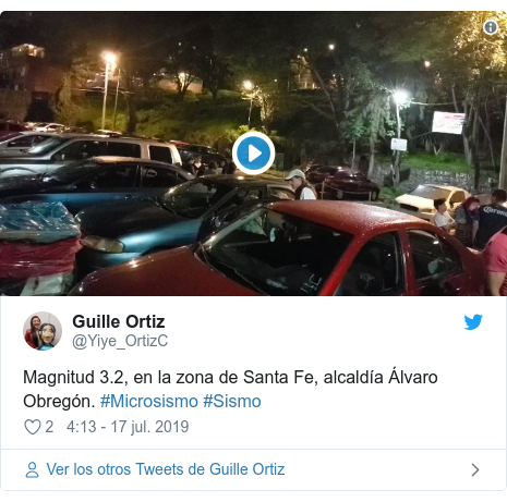 Publicación de Twitter por @Yiye_OrtizC: Magnitud 3.2, en la zona de Santa Fe, alcaldía Álvaro Obregón. #Microsismo #Sismo