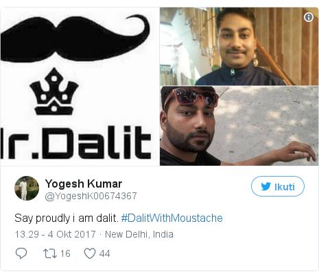 Twitter pesan oleh @YogeshK00674367: Say proudly i am dalit. #DalitWithMoustache pic.twitter.com/IMSZsH2vzr