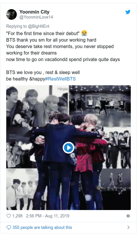 "Twitter post by @YoonminLove14: ""For the first time since their debut"" 😭BTS thank you sm for all your working hardYou deserve take rest moments, you never stopped working for their dreamsnow time to go on vacationdd spend private quite daysBTS we love you , rest & sleep wellbe healthy &happy#RestWellBTS"